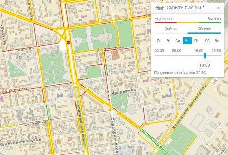 2ГИС нанес на карту Новосибирска хронические пробки