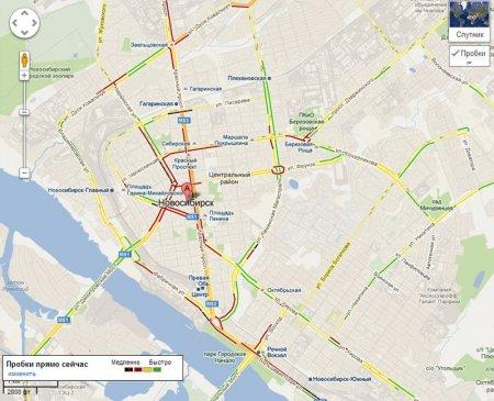Google нанес на карту пробки в Новосибирске