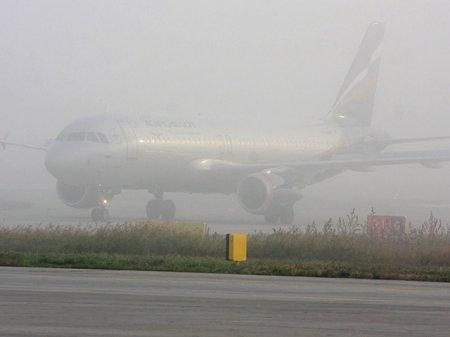 Туман остановил работу «Толмачёво» на 9 часов