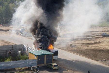 В Новосибирске сгорел автобус 1197 маршрута